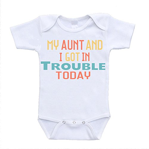 My Aunt and I Got In Trouble Today I Love My Auntie Onesie Baby Bodysuit Rompers One Piece Online Clothing Shopping (3-6 Months)