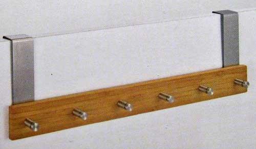 bambus t rgarderobe 6 edelstahlhaken t r garderobe haken leiste handtuch halter lhs ean. Black Bedroom Furniture Sets. Home Design Ideas