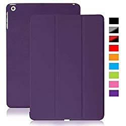KHOMO DUAL Purple Polyurethane Cover FRONT + Hard Rubberized BACK Case for Apple iPad 2 & 3 and 4th Generation