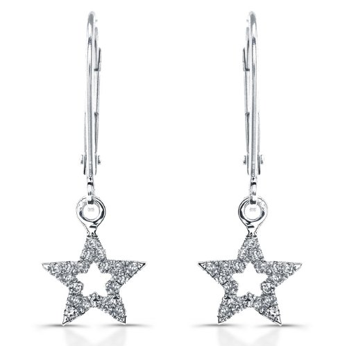 Victoria Kay 14k White Gold Diamond Star Earrings (1/8cttw, JK, I2-I3)