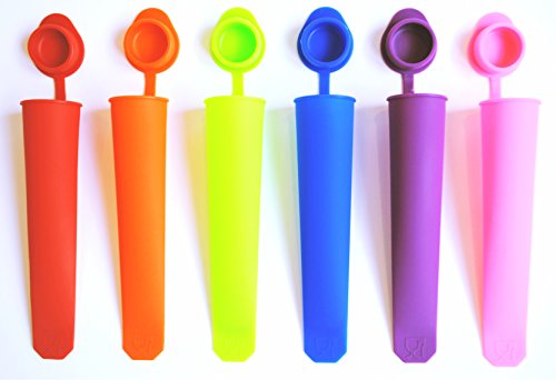 SimplyPOP Popsicle Molds and Ice Pop Maker with Attached Lids and Recipe (Set of 6) (Smoothie Freezer Mold compare prices)