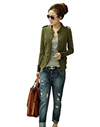 Keral Women Jacket Long Sleeve Stand-up Collar Coat_Army Green_L