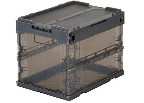 TRUSCO 折りたたみコンテナ スケルコン 透明ブラック 20L フタ付 TRSC20
