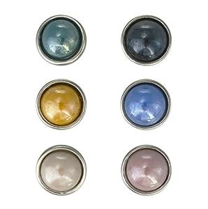 Crystal Blue Damen Unisex Mini Butt On (12mm) 6er Set Pearl