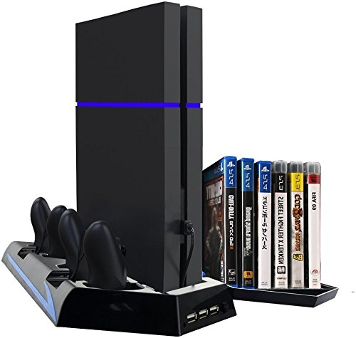 Superwinger 3 in 1 PS4 Vertical Stand with Cooling Fan Charger Controller Charging Fans Station 2 Cooling Fans + 3 HUB USB ports +14 Slot Game Disc Storage Ps4 Games (Ps4 Fan Charging Station compare prices)