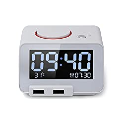 Alarm Clock with Battery Backup and Snooze(White)