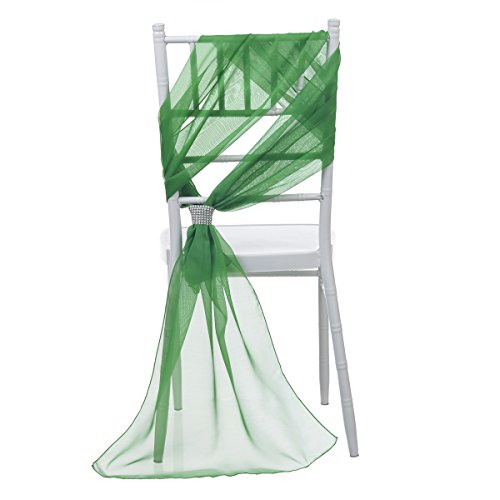 Remedios 21x70 Inch Wedding Chair Sashes Cover Clips Party Decoration Green