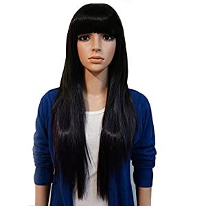 Jacentown® New Style Black Fashion Long Straight Women's Girl Full Hair Wig Cosplay