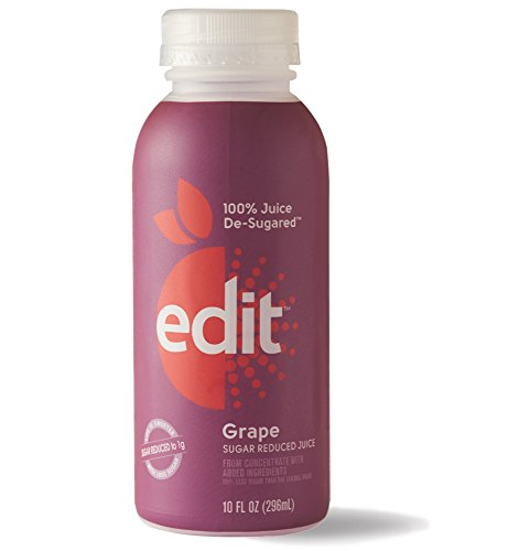 De-Sugared Grape Juice by Edit - 100% Grape Juice De-Sugared (10 FL OZ) - 100% Fruit Juice With Less Sugar - Reduced Sugar Fruit Juice - Low Sugar Fruit Juice (6-Count) (Pantry Grape Juice compare prices)