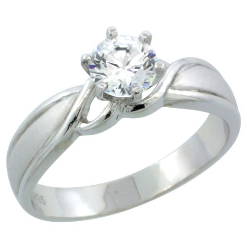Sterling Silver 3/4 Carat Size 5.5 mm Engagement Ring CZ Stones Rhodium Finish, 3/16 in. 4.5 mm, Size 5.5
