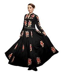 Janasya Women's Black Embroidered Georgette Semi-Stitched Dress