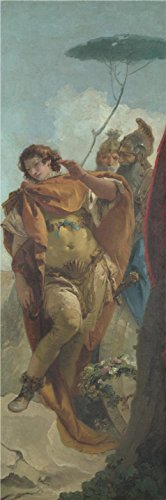 The High Quality Polyster Canvas Of Oil Painting 'Giovanni Battista Tiepolo,Rinaldo Turning In Shame From The Magic Shield,about 1757' ,size: 24x73 Inch / 61x184 Cm ,this Best Price Art Decorative Canvas Prints Is Fit For Laundry Room Decoration And Home Gallery Art And Gifts
