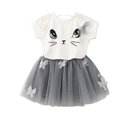 Culater® Bambini Ragazze modello Cat shirt Top farfalla Tutu Skirt Set abbigliamento (100)