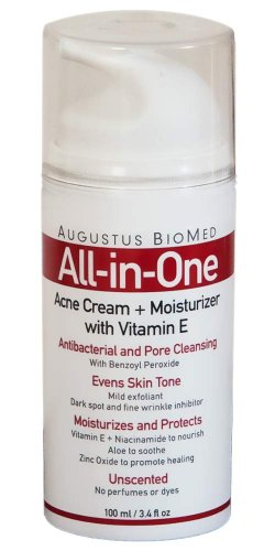 Augustus All in One Skin Care Cream for Acne and Rosacea with Niacinamide and Benzoyl Peroxide +Alpha Hydroxy Acid, Zinc Oxide, Vit. E, and Aloe Vera
