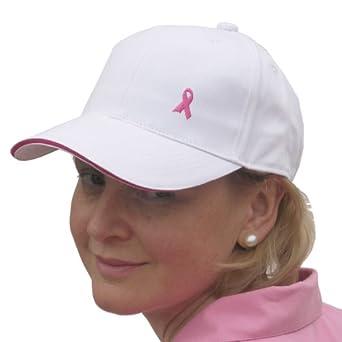 Pink Ribbon Ladies Golf & Tennis Sports Cap in White