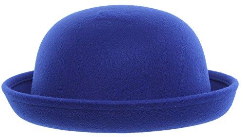 EOZY Women Wool Felt Roll Brim Bowler Derby Hats Billycock Cloche 22.5