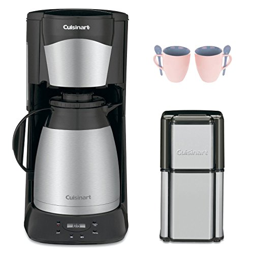 Cuisinart DTC975BKN 12 Cup Programable Thermal Coffeemaker Black (New) with Grind Central Coffee Grinder (Refurbished) and 2-Piece 10 oz. ARC Handy Glass Coffee Mug (Cuisinart Crystal Scc 1000 compare prices)