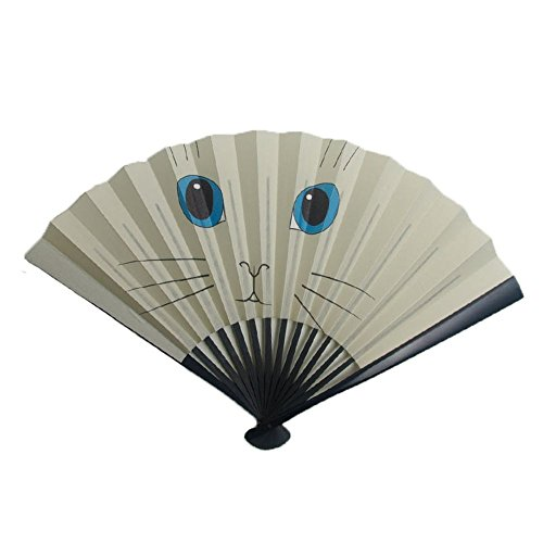 [Edo-Japan Traditional Crafts] Edo Sensu folding fan (Cat) Russian Blue for men