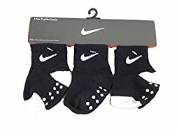 3 Pair Nike Toddler Socks 6 - 24 Months (12-24 Months, Black/White)