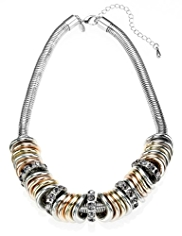 M&S Collection Metal & Crystal Rings Necklace