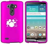 LG G3 Vigor Snap On 2 Piece Rubber Hard Case Cover Drum Set Hot Pink