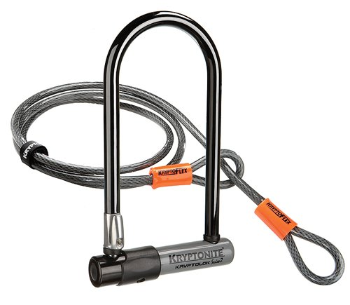 Kryptonite Kryptolok Series 2 Standard Bicycle U-Lock with Transit FlexFrame Bracket (4-inch x 9-inch) with 4-Foot Flex Cable