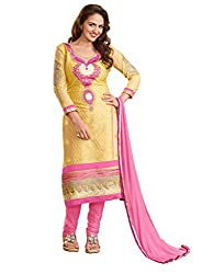 Manvaa Moiety Classy Beige & Pink Semi-Cotton Embroidered Dress Material-KED01