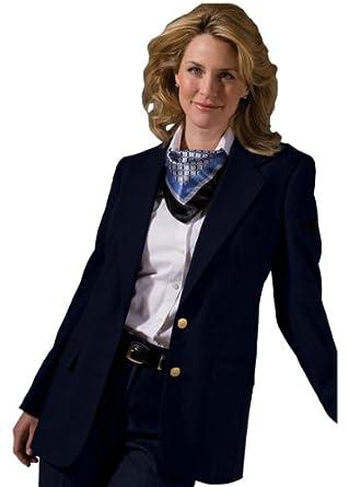 Ed Garments Women's Welt Breast Pocket Hopsack Blazer, NAVY, 0 R