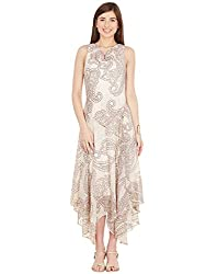 Asymmetrcial Fall Maxi Dress - Beige Paisley Print