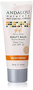 Andalou Naturals Brightening SPF 30 All In One Beauty Balm, Sheer Tint, 2 Ounce