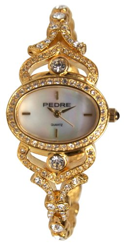 Pedre Women's GoldTone Elegant Fashion Stone Adorned Bracelet Watch # 4360G