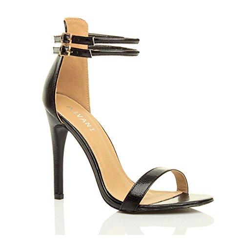Sandali da Donna Tacco Alto a Stiletto Doppio Cinturnino - Eu 37, Nero Lucertola