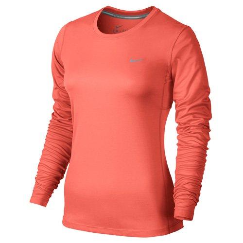 Nike Miler Long Sleeve Maglia da Running - Multicolore (Lt Wild Mango/Reflective Silver) - M