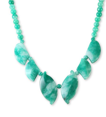 Polished Gemstone Beads Leaves Green Jade Necklace