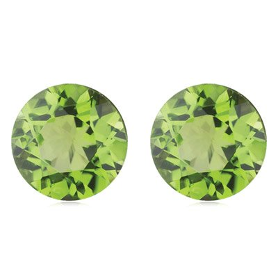 0.98 Cts of 5 mm AA Round Loose Peridot ( 2 pcs