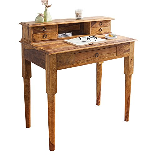 Exklusiver-Sekretr-HEMINGWAY-M-Sheesham-Stone-Finish-Massivholz-90-cm-Schreibtisch