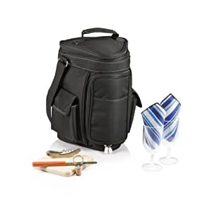 Picnic Time Meritage Insulated Triangular Wine and Cheese Cooler Tote, Black