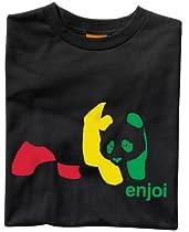 ENJOI Rasta Panda Short Sleeve T Shirt (Black, Medium)