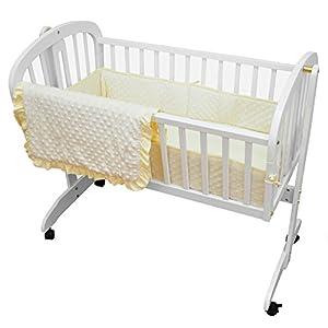 American Baby Company Heavenly Soft Minky Dot 3-Piece Cradle Set, Ecru