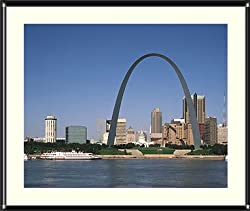 Gateway Arch, St. Louis, Missouri Photograph - Beautiful approx. 22x26-inch Framed &amp; Matted - 7/8-inch Rounded, Shiny, Black Metal Frame - Photographic Print by Carol M. Highsmith