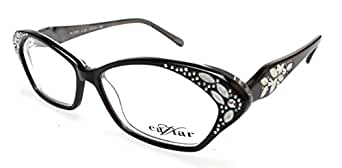 Designer Eyeglass Frames With Crystals : Amazon.com: Caviar Womens Jet Black Floral Crystals ...