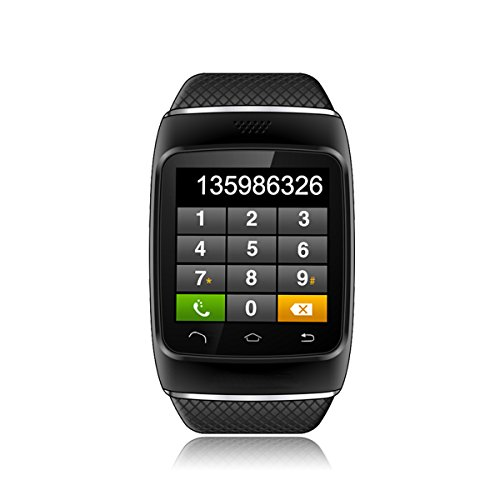 MeGooDo Arrival S12 Bluetooth Smart Wristband Watch Phone with Pedometer/Recording/MMS/SMS/Alarm/Kcal Hands-free for Android Smartphones,Samsung S5,S4,S3,S2,Note 3,Note 2 (Black)