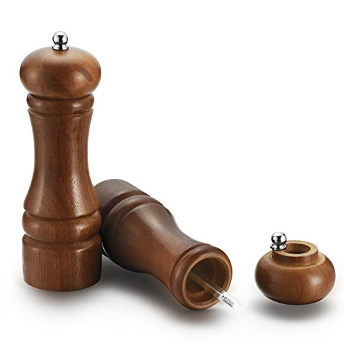 HILLPOW Retro Oak Wood Salt and Pepper Mill Set,Adjustable Pepper Grinder 6 inches, Pack of 2 (Salt And Pepper Mill Set Wood compare prices)