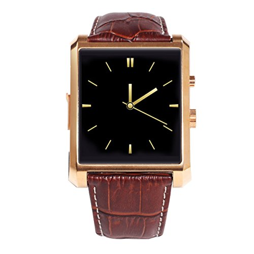 """Wintimes Deluxe Edition Calfskin Belt Waterproof 1.5"""" 1.3MP Bluetooth 4.0 Smart Watch DM08 for Anti-Lost Calorie Sleep Monitoring Sedentary Reminder Management Sync Information Telephone-Golden"""