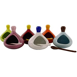 Colorful mini ceramic salt cellars, set of 6 assorted colors, French