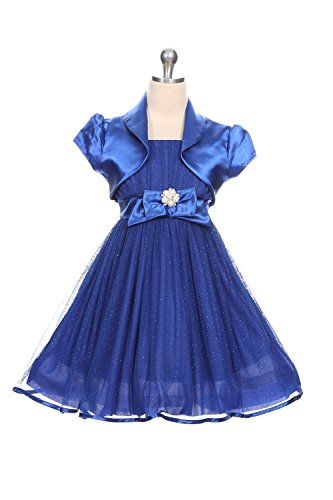 Tulle Flower Girl Holiday Party Dress with Jacket (Royal Blue, 10)