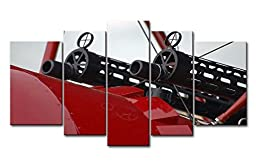 So Crazy Art® Black White And Red 5 Panel Wall Art Painting Black Guns In Red Plane Prints On Canvas The Picture Military Pictures Oil For Home Modern Decoration Print Decor