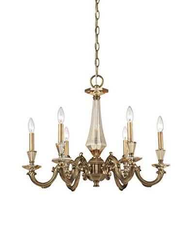 Artistic Lighting Kenilworth 6-Light Chandelier, Aged Brass/Teak Crystal
