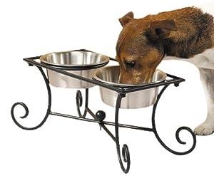 Pet Studio Wrought Iron Pet Raised Diner with Bowls, 1-Quart