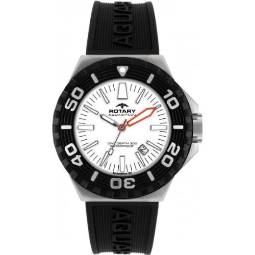 Rotary Aquaspeed Men's Quartz Watch with White Dial Analogue Display and Black Rubber Strap AGS00055/W/02